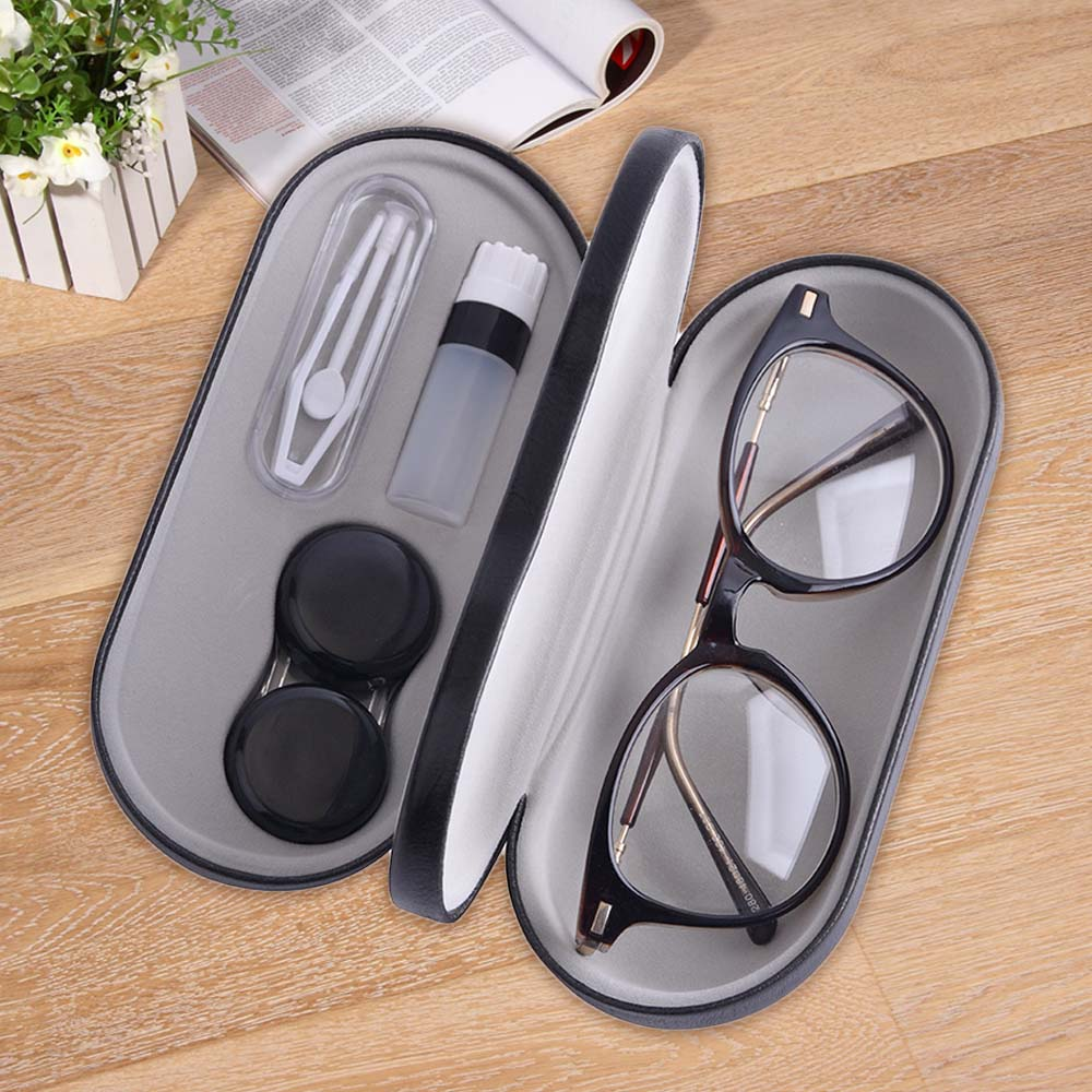 Double Interlayer Contact Lens Case With Mirror Full Function Convinent Glasses Box Leather Contact Lenses Beauty Pupil Box Kit