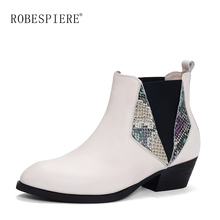 ROBESPIERE Genuine Leather Cowboy Ankle Boots Women Wedge High Heel Booties Snake Print Western Cowgirl Boot 2019 Female B139