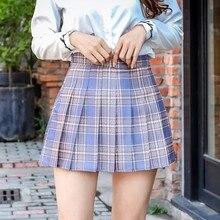 XS-2XL летнее клетчатое платье в стиле «Женская юбка с высокой талией, а-силуэт, шить студент плиссированные юбки для женщин милые колготки для...