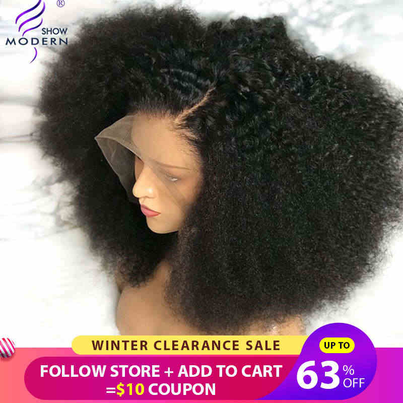 Modern Show Hair Brazilian Afro Kinky Curly Wig Pre Plucked Lace Front Human Hair Wigs For Black Women Remy Hair Wig 150%Density