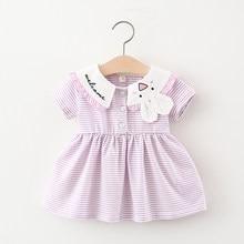 TZ boutique 2021 summer new little girl striped cartoon pattern dress sweet little fresh princess dress girls dress