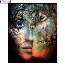 Новинка 5d diy Алмазная картина Волк и Мужская мозаика для рисования