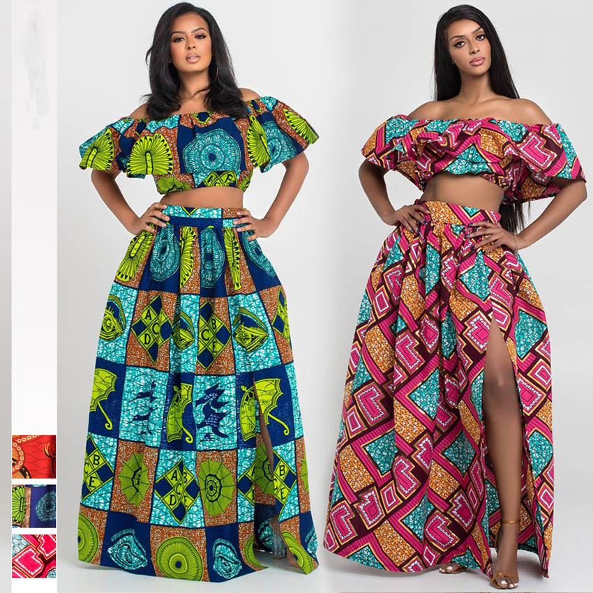 African Clothes 2019 News Dashiki Print Party Shoulder Off Ladies Sling Skirts Africa Dresses For Women Bazin Ankera Long Robe