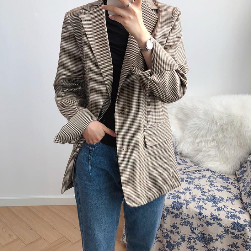 Automne col rabattu pied de poule Blazer manteau femmes simple boutonnage veste de costume ample décontracté cardigan d'extérieur