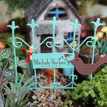 Fairycome jardim em miniatura metal sinal cerca com diy pássaro decoração portão cerca para jardim de fadas ou terrário acessórios ornamentos