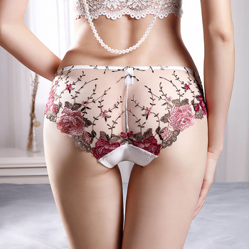 Sexy  Lace Panties Women's Underwear Lingerie Breathable Hollow Out  Briefs Embroidered Low-Rise Floral Pantys Underpants floral embroidered high low blouse