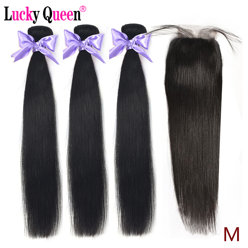 Peruvian Straight Hair Medium Ratio Bundles With Closure 8