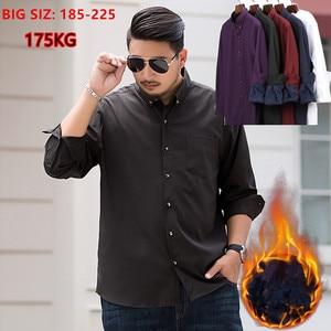 Image 1 - 2020 Winter Warm Men Shirt White Long Sleeve Fleece High Quality Formal Shirts Mens Regular Fit 8XL 9XL 10XL Plus Size Blouse