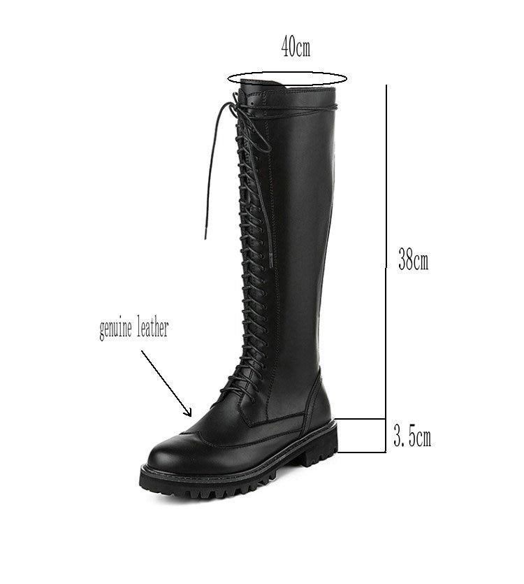 Tcxcnmb 2019 부츠 여성용 무릎 높이 부츠 겨울 정품 가죽 로우 힐 신발 여성용 szie 42 43-에서무릎 - 하이 부츠부터 신발 의  그룹 2