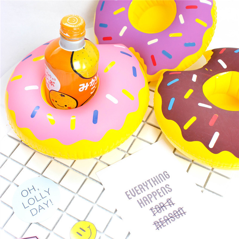 4 Colors Mini Donuts Shape Inflatable Water Swimming Pool Drink Cup Stand Holder Float Toy Coasters For Beverage Beer Bottle