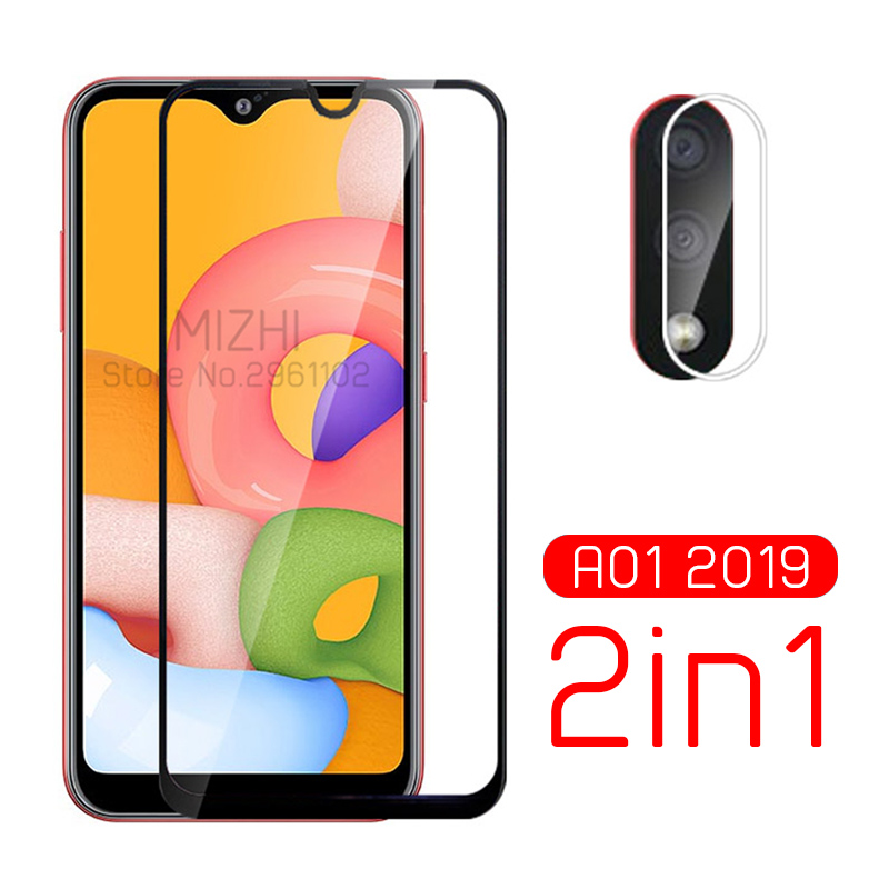 2in1 Protective Glass For Samsung A01 Camera Lens Protector On For Samsung Galaxy A 01 01a A015f A015g Tremp Glasses Film 5.7