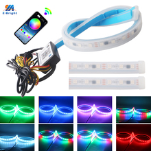 YM E Bright 2X 60cm RGB APP Bluetooth DRL Car Sequential Flowing LED Flexible Strip Daytime Running Light Yellow Turn Signal