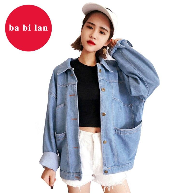 2020 New Vintage Women Jacket Spring Summer Denim Oversize Jackets Blue Jeans Washed Turn-down Collar Outerwear Bomber Jacket