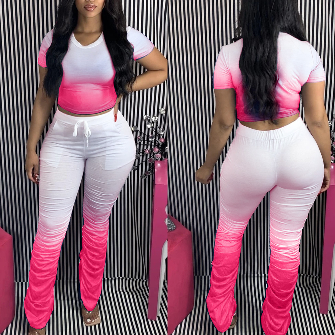 Jodimitty Women Tracksuits Two Pieces Set Gradient Short Sleeve Top Flared Pants 2 Pieces Set Pleated Pants Sports Suit Outfit 4