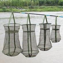 Sougayilang taşınabilir balıkçılık Net 4 boyutları 3 katmanlı yuvarlak katlanır balık karides örgü kafes Cast Net balıkçılık tuzak Net kat tor ağı