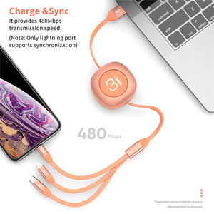 Image 4 - ROCK 3 in 1 Retractable Charge Cable For iPhone Samsung Huawei Xiaomi Adjustable Micro USB Type C Portable Phone Data Cable
