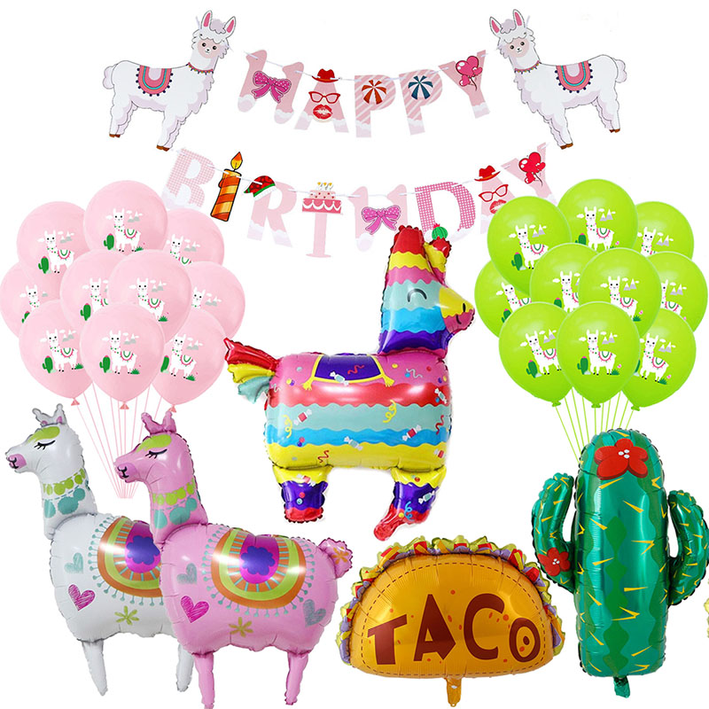Mexican Party Alpaca Cactus Foil Balloon Alpaca Llama Banner Bachelorette Pinata Balloon Party Decor Summer Birthday Supplies