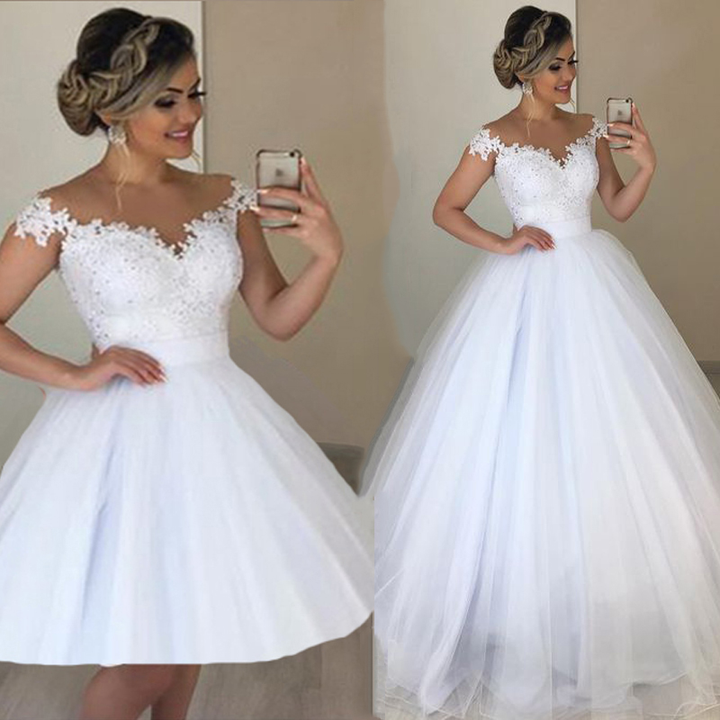 JIERUIZE White Lace Appliques Detachable Skirt Wedding Dresses Off Shoulder 2 In 1 Wedding Gowns Lace Up Back Bridal Gowns