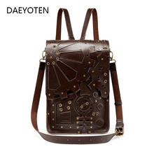DAEYOTEN Vintage Shoulder Bag Women Backpack Steampunk Backpacks for School Teenagers Girls Rivet Casual Daypack Travel Rucksack