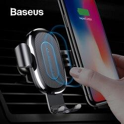 Baseus Qi Беспроводное Автомобильное зарядное устройство, держатель для телефона для iPhone, samsung, быстрая зарядка, подставка, Воздушная розетка, г...