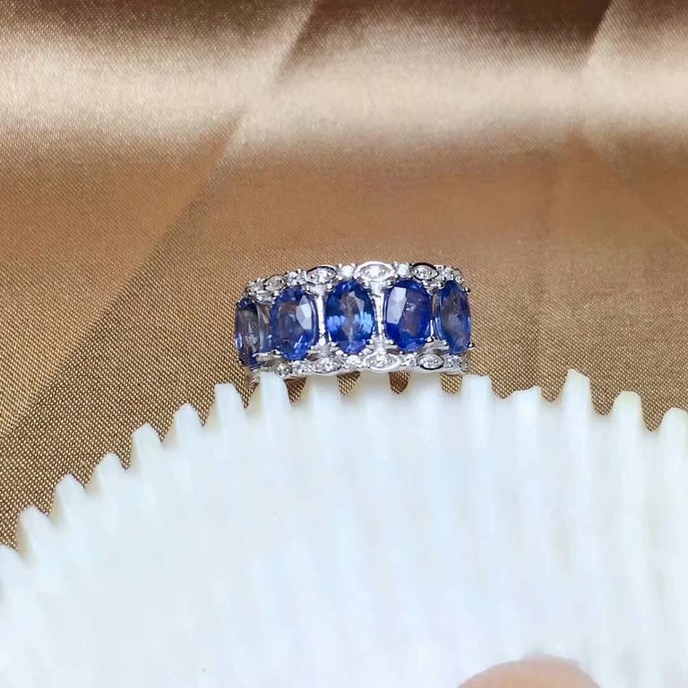 Shilovem 925 argent sterling réel saphir naturel anneaux bijoux fins bandes de mariage nouveau cadeau à la mode ouvert 4*6mm mj0406285agl