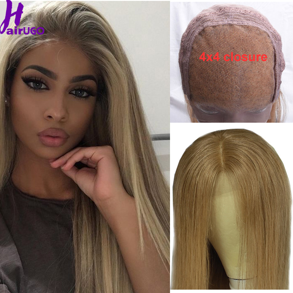 Malaysia #27 Straight Colored Human Hair Wigs For Black Women 1B/27 4*4 Lace Closure Wig Ombre Human Hair Wig Remy Pre Plucked