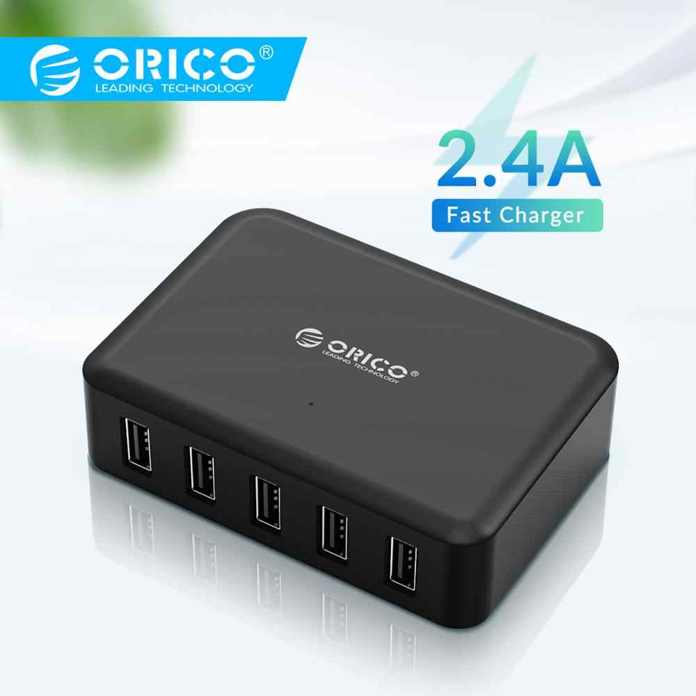 Orico USB Charger 8A 40W Universal 5 Port Charger Uni Eropa US UK AU Plug Ponsel Adaptor untuk iPhone 8 Samsung S9 Xiaomi Galaxy S7