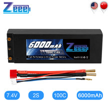 Bateria de carro zeee lipo, bateria de 6000mah 7.4v 100c 2s lipo rc com deans t plug 2s bateria lipo rc para carro, barco, caminhão, truggy, buggy