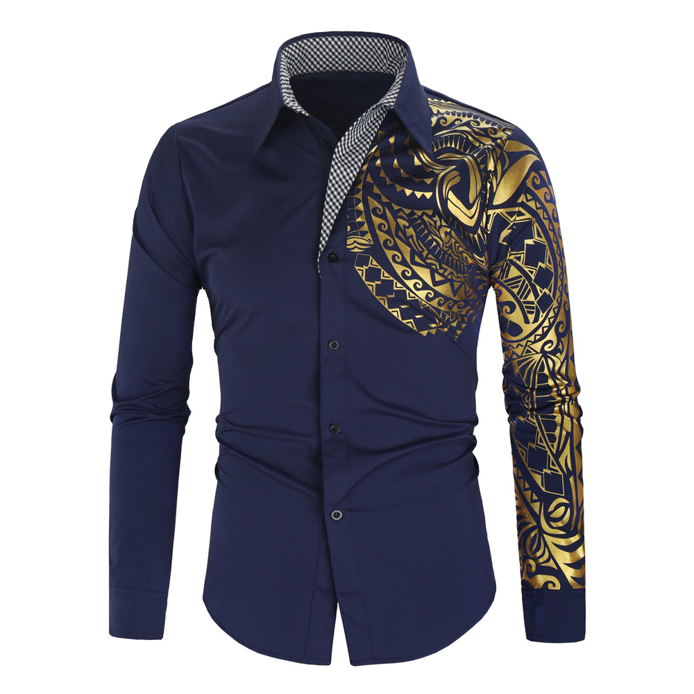 Hot Sale 2019 Shirt Men New Slim Fit Camisa Masculina Gold Black Chemise Homme Social Long Sleeve Men Club Prom Shirt Hawaiian