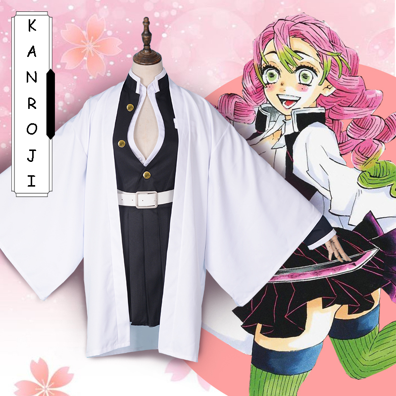 Dessin animé démon Slayer Kimetsu No Yaiba Cosplay Costumes Kanroji Mitsuri Cosplay Costume Halloween Kimono tissu lame de démon
