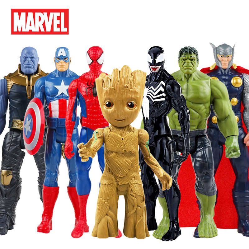 30 Cm Marvel Avengers Racun Spiderman Captain America Wolverine Hulk Iron Man Groot Thanos Koleksi Action Figure Hot Toys Kids