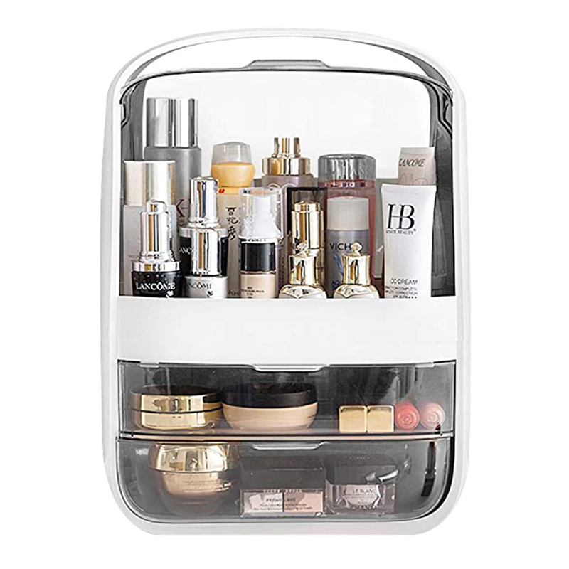 Makeup Organizer Transparent Clamshell 2 Drawer Dressing Table Desktop Plastic Cosmetic Box Storage Containers Jewelry Holder
