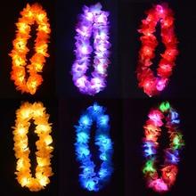 Woman Man Kids Girl Boy LED Light Up Hawaii Flower Leis Garland Necklace Hula Luau Glowing Wreath Birthday Party Wedding Parade