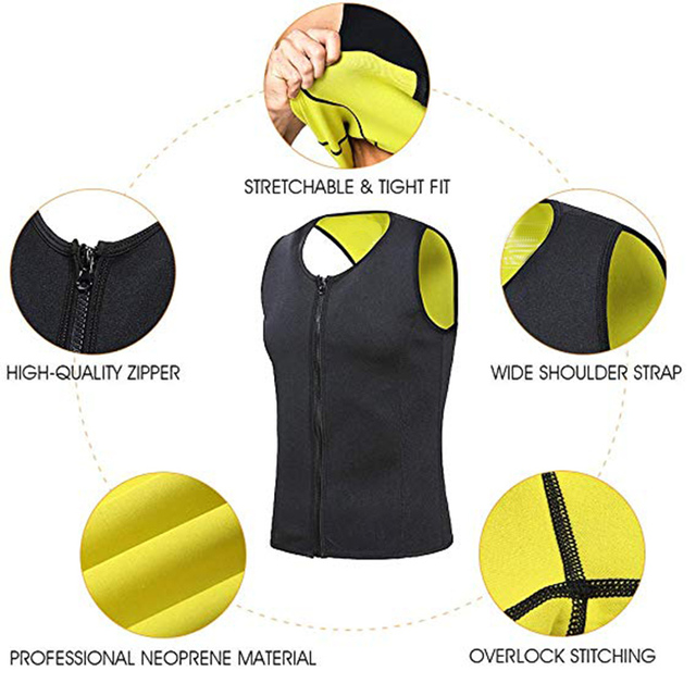 CXZD Men's Body Shaper Hot Sweat Workout Tank Top Slimming Neoprene Vest for Weight Loss Tummy Fat Burner 4
