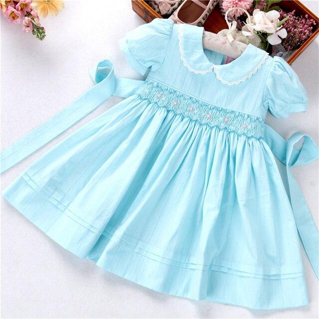 ฤดูร้อนเด็กทารกชุด smocked ผ้าฝ้ายทำด้วยมือ VINTAGE เสื้อผ้าเด็ก Princess PARTY บูติกเสื้อผ้าเด็ก