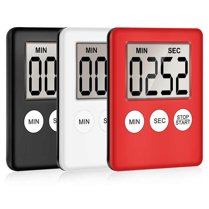 1pcs 8 Cores Super Fina Tela Digital LCD Kitchen Timer Contagem Cooking Up Contagem Regressiva Alarme Ímã Quadrado Relógio Temporizador