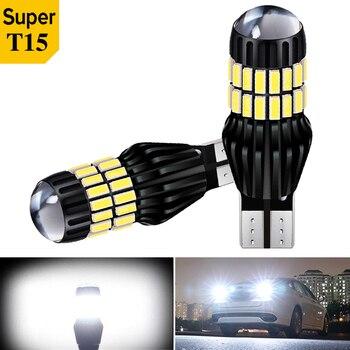 2x T15 W16W bombillas LED 54smd Canbus OBC luz LED de respaldo LIBRE DE ERRORES 921 912 bombillas LED lámpara de marcha atrás de coche xenón blanco DC12V24V