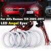 6 sztuk Super jasna biała kolorowa bawełniana zestaw Led oczy anioła światła do jazdy dziennej DRL dla Alfa Romeo 159 2005-2011 Car Styling