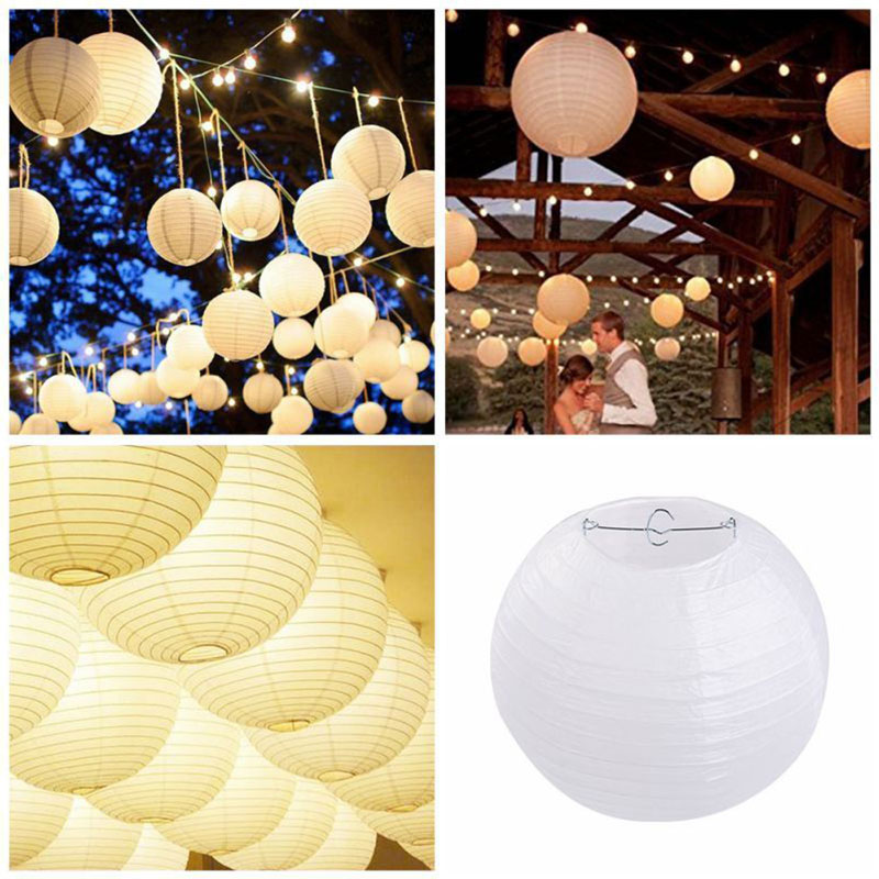 DIY Plain Xmas Gift Lantern Hanging Household Home Decor Lampshade Durable Wedding Festival Christmas Paper Outdoor