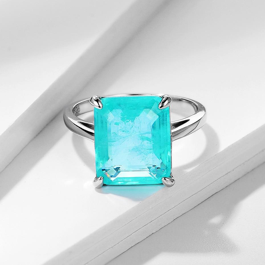 Kuololit Paraiba Gemstone Rings for Women Real 925 Sterling Silver Emerald Cutting Tourmaline Handmade Engagement Bride Jewelry 4