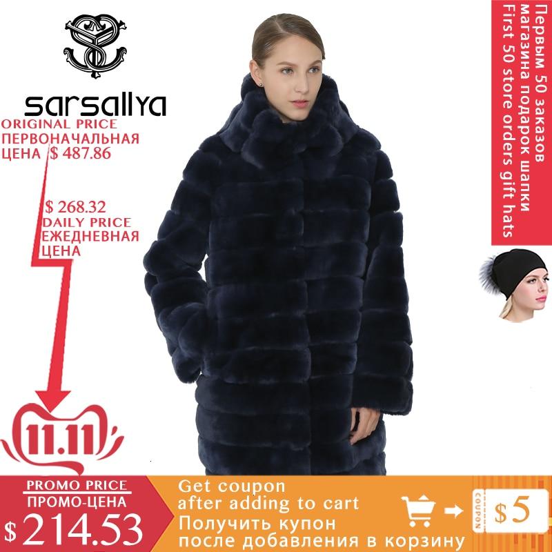 Sarsallya real casaco de pele das mulheres casaco de inverno quente rex coelho com capuz grosso moda feminina casacos de pele real natural feminino casaco