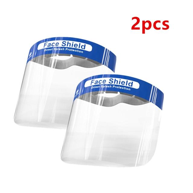 2pcs  Facial Protective Mask Full Covering Face Shield Anti Droplet Saliva Mask Hat Transparent Eyes Protection Adjustable Visor