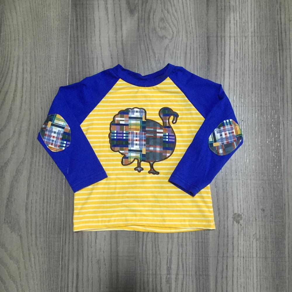 Girlymax Fall/Winter Thanksgiving mustard stripe turkey cotton top long sleeve t-shirt baby boys patch raglans boutique kidswear 1