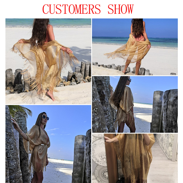Tassel gold bikini  beach dress 2