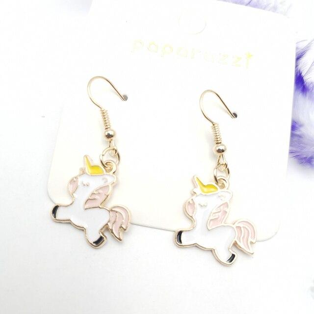 2020 new cute unicorn dripping earrings baby resin epoxy art фотография