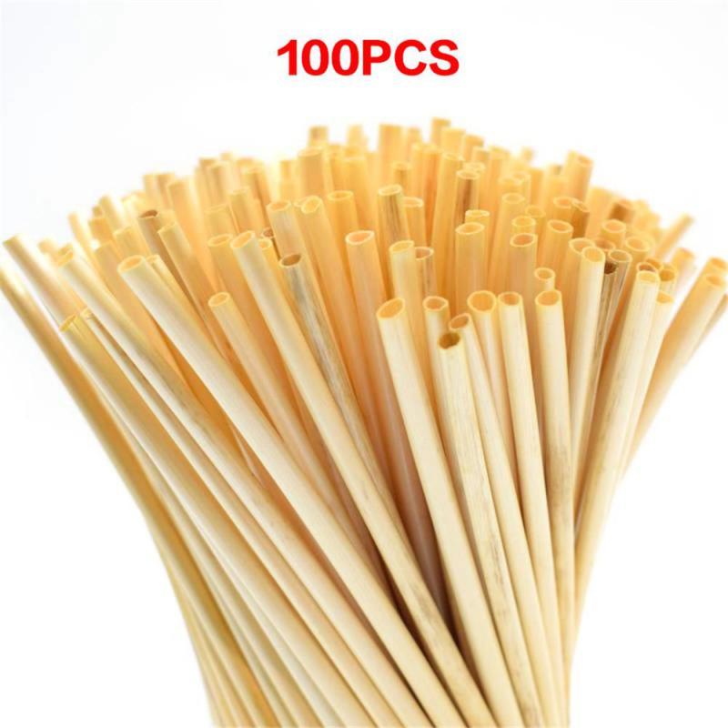 100 шт. + натуральный Пшеничная солома 100% биоразлагаемые соломинки экологически чистые Портативный питьевой соломы бар Кухня аксессуары