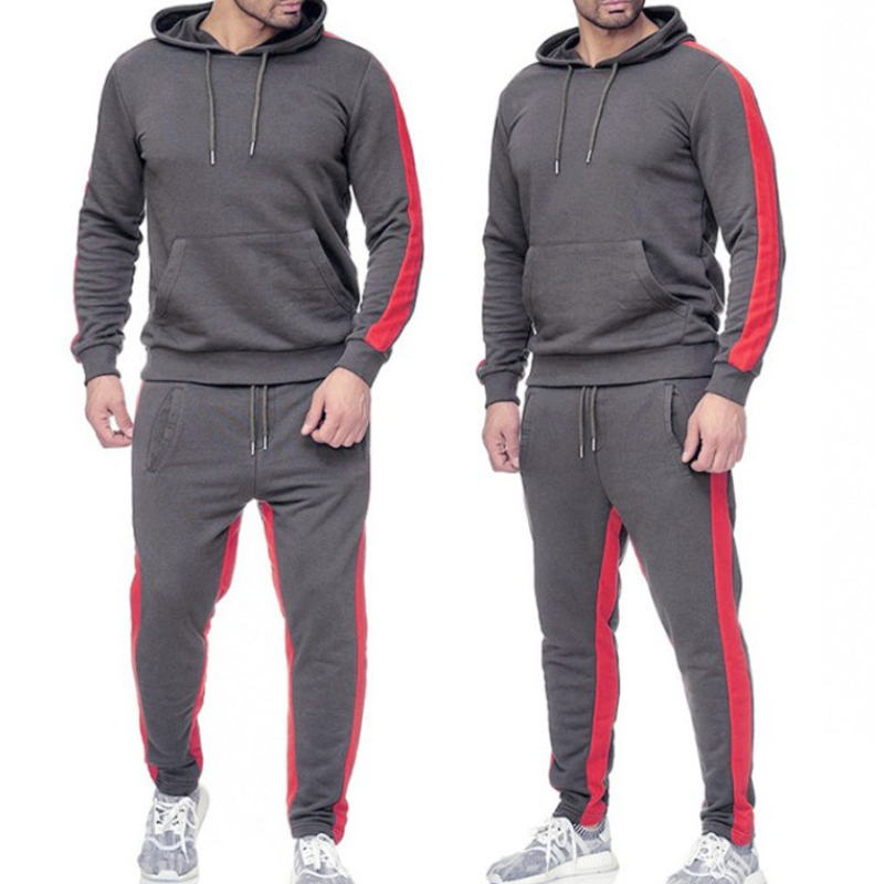 LYLIFE Men Tracksuit Sport Jacket Sweater Suit Trousers Pants Hoodie Red White