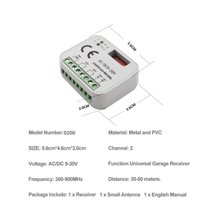Image 5 - Garage gate remote receiver 300 900MHZ AC/DC 9 30V remote switch for 433mhz 300 315 330 390 868 mhz door command transmitter