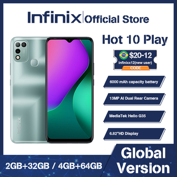 Infinix HOT 10 PLAY  2GB+32GB /4GB+64GB Global Version smart phone 6.82'' HD+ Display 6000mAh  Helio G35 mobile Phone 1