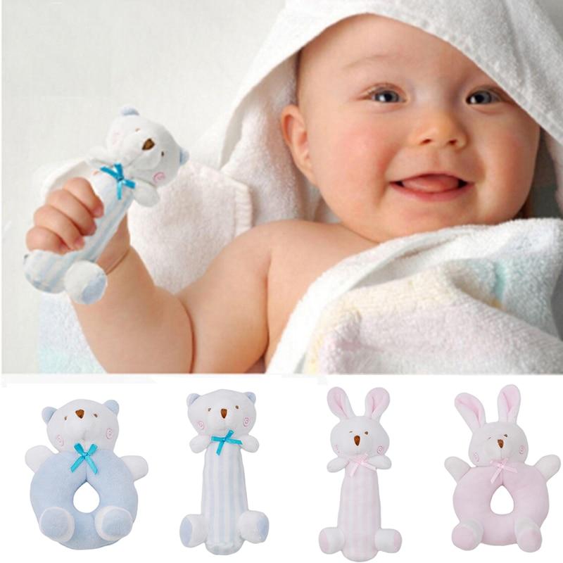 Baby Rabbit Cartoon Bear Plush Toys Rattle Bell Ring Newborn Hand Hold Mobile Cradle Baby Soft Plush Toys Hochet